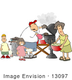 #13097 Caucasian Family Barbecuing At A Picnic Clipart