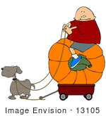 #13105 Boy Riding A Pumpkin In A Wagon Being Pulled By His Dog Clipart