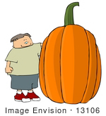 #13106 Cacuasian Boy Standing By A Giant Pumpkin Clipart Illustration