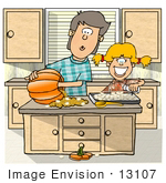#13107 Brother And Sister Carving Halloween Pumpkins And Making Pumpkin Seeds Clipart