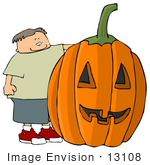#13108 Caucasian Boy With Giant Carved Pumpkin Clipart