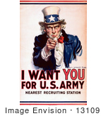 #13109 I Want You For The Us Army Uncle Sam Picture