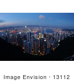 #13112 Picture Of A Sunset View Of Hong Kong Kowloon And Victoria Harbour From Victoria Peak