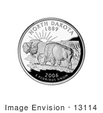 #13114 Picture Of Two Buffalo In The Badlands On The North Dakota State Quarter
