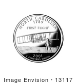 #13117 Picture Of The Wright Brothers And Flyer At Kitty Hawk On The North Carolina State Quarter