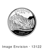#13122 Picture Of The Rocky Mountains On The Colorado State Quarter