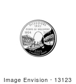#13123 Picture Of Louis And Clark And The Gateway Arch On The Missouri State Quarter
