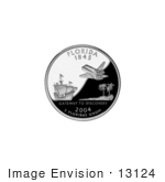 #13124 Picture Of A Galleon Sailing Ship Palm Trees And Shuttle On The Florida State Quarter