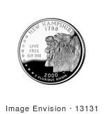 #13131 Picture of The Old Man of the Mountain Formation on the New Hampshire State Quarter by JVPD