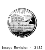 #13132 Picture Of A Thoroughbred Horse And Boardstown Mansion On The Kentucky State Quarter