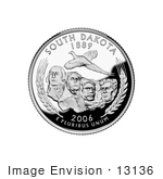 #13136 Picture Of A Pheasant Flying Over Mount Rushmore On The South Dakota State Quarter
