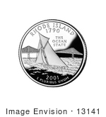 #13141 Picture Of A Sailboat By Pell Bridge In Narragansett Bay On The Rhode Island State Quarter