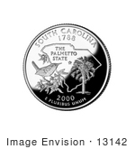 #13142 Picture Of A Carolina Wren And Sabal Palmetto On The South Carolina State Quarter