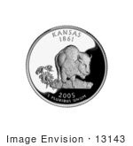 #13143 Picture Of A Buffalo And Sunflowers On The Kansas State Quarter