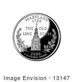#13147 Picture Of The Maryland Statehouse Dome On The Maryland State Quarter