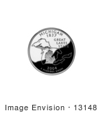 #13148 Picture Of The Great Lakes On The Michigan State Quarter