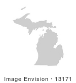 #13171 Picture Of A Map Of Michigan Of The United States Of America