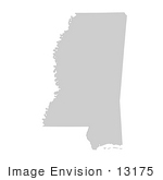 #13175 Picture Of A Map Of Mississippi Of The United States Of America