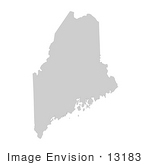 #13183 Picture Of A Map Of Maine Of The United States Of America
