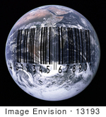 #13193 Picture Of A Black Barcode Over Earth