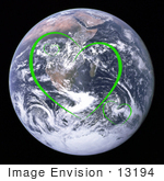 #13194 Picture Of Green Heart Shapes Over Planet Earth