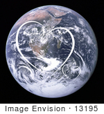 #13195 Picture Of White Heart Shapes Over Planet Earth