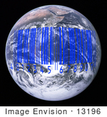 #13196 Picture Of A Blue Barcode Over Earth