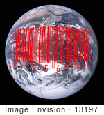 #13197 Picture Of A Red Barcode Over Earth