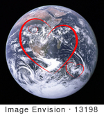 #13198 Picture of Red Heart Shapes Over Planet Earth by Jamie Voetsch