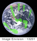 #13201 Picture Of A Green Handprint On Earth
