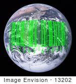 #13202 Picture of a Green Barcode Over Earth by Jamie Voetsch