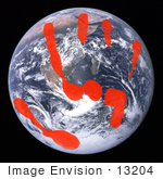 #13204 Picture Of A Red Handprint On Planet Earth