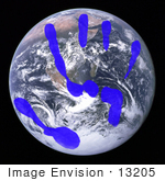 #13205 Picture of a Blue Handprint Over Planet Earth by Jamie Voetsch