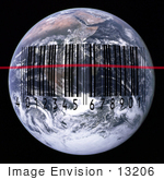 #13206 Picture Of A Black Barcode And Scan Laser Over Earth