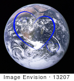 #13207 Picture Of Blue Heart Shapes Over Planet Earth