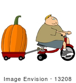 #13208 Boy Hauling A Giant Pumpkin With A Tricycle And Red Wagon Clipart