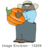 #13209 African American Pumpkin Farmer Carrying A Pumpkin Clipart