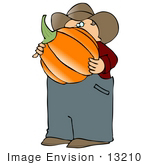 #13210 Caucasian Pumpkin Farmer Carrying A Pumpkin Clipart