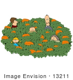#13211 Caucasian Family In A Pumpkin Patch At Halloween Time Clipart