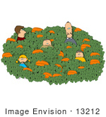 #13212 Caucasian Family In A Pumpkin Patch At Halloween Time Clipart