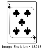 #13218 5 of Clubs Playing Card Clipart by DJArt