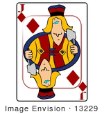 #13229 Playing Card Of The Jack Of Diamonds Holding An Axe Clipart
