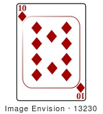 #13230 10 of Diamonds Playing Card Clipart by DJArt