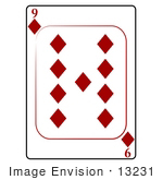 #13231 9 Of Diamonds Playing Card Clipart