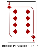 #13232 8 Of Diamonds Playing Card Clipart