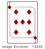 #13233 7 Of Diamonds Playing Card Clipart