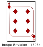 #13234 6 Of Diamonds Playing Card Clipart