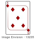 #13235 5 Of Diamonds Playing Card Clipart