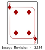 #13236 4 Of Diamonds Playing Card Clipart