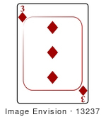 #13237 3 Of Diamonds Playing Card Clipart